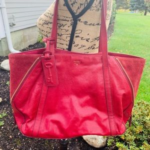 FOSSIL Cranberry Leather Convertible Tote Bag